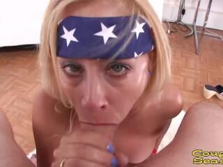 Hot body busty blonde MILF Payton Leigh working a big cock